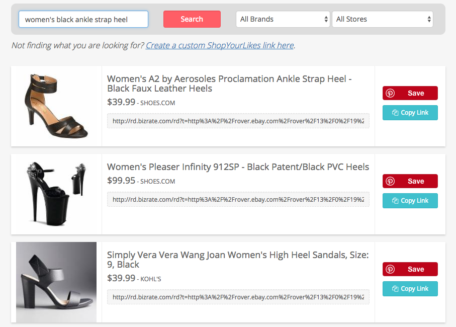 how to use the shopyourlikes search tool